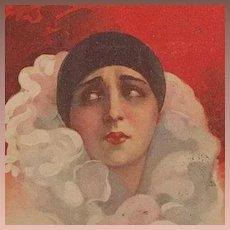 Art Deco Italian Sad Clown Postcard Signed Corbella