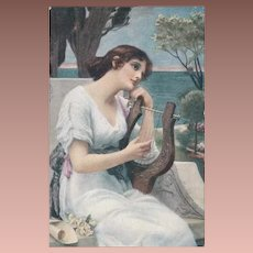 Czech Young Girl with Harp Postcard