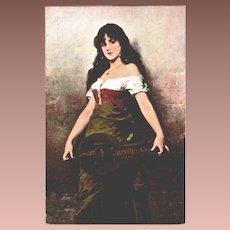 Czech Artist Gypsy with Lute Postcard