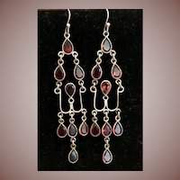 Silver Wire and Garnet Dangle Drop Earrings