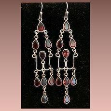 Silver Wire and Garnet Dangle Drop Earrings