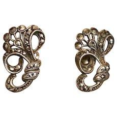 Art Deco Silver Marcasite Earrings..Screw backs.
