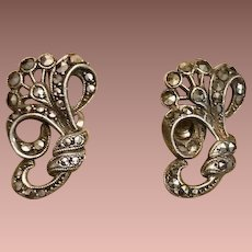 Art Deco Silver Marcasite Earrings..Screw backs.