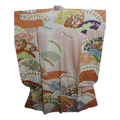 Vintage Pink Silk Kimono with Fans, Gold Paint and Embroidery.