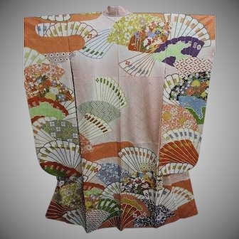 Pink Silk Furisode Kimono with Fans, Gold Embroidery and Gold Paint Hilights.