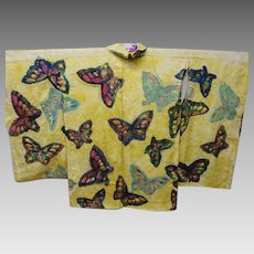 Antique Purple Butterfly Silk Crepe Karinui Haori Kimono Coat