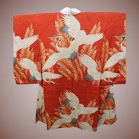 Red Silk Cranes Kimono c1900 Meiji ers