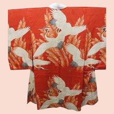 Meiji Era Red Silk Cranes Kimono c1900