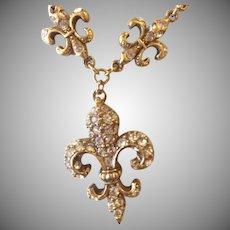 Vintage Butler & Wilson Fleur de Lys Crystal Necklace