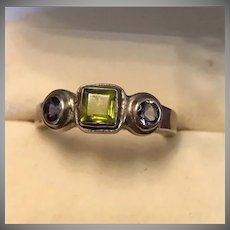 Vintage Sterling Silver Amethyst and Peridot Ring