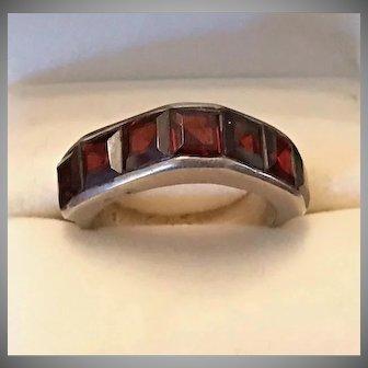 Vintage Sterling Garnet Modernist Ring