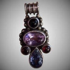 Vintage Sterling Amethyst Garnet Aquamarine and Obsidian Pendant.