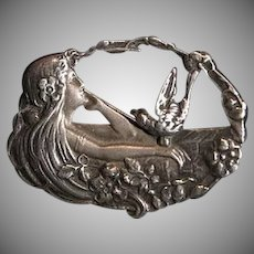 Antique Silver Lady of the Lake Brooch Pin..Art Nouveau era.