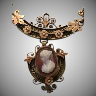 Antique Etruscan Revival 9K Rose Gold Milanaise Cameo and Seed Pearl Necklace c1870