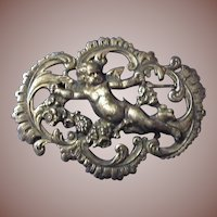 Art Nouveau Putti Cherub French 800 Silver Brooch Pin c1890