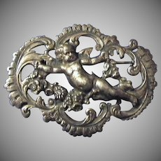 Art Nouveau Putti Cherub French 800 Silver Brooch Pin c1890
