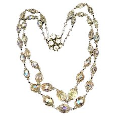 Art Deco Czech Two Strand Graduated Faceted Crystal Necklace with Rhinestone Clasp.