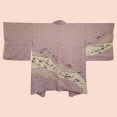 Vintage Embroidered Mauve Silk Flowers and Leaves Haori Kimono