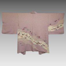 Vintage Embroidered Mauve Silk Flowers and Leaves Haori Kimono
