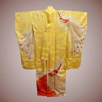 Silk Rinzu Embroidered Orange/Yellow Furisode Kimono