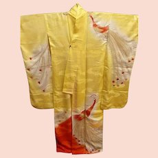 SALE: Japanese Figured Silk Rinzu Furisode Kimono in Yellow and Orange with Gold and Silver Embroidery