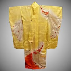Japanese Figured Silk Rinzu Furisode Kimono in Yellow and Orange with Gold and Silver Embroidery