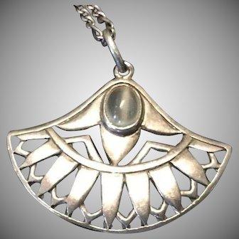 Art Deco Style Egyptian Lotus Motif Silver Pendant