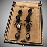 French Jet and Silver Drop Dangle Earrings