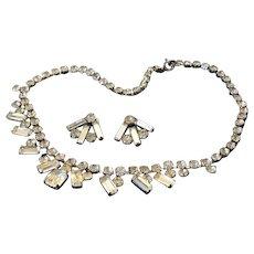 Art Deco Rhinestone Necklace and Earrings Demi