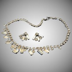 Art Deco Rhinestone Necklace and Earrings Demi