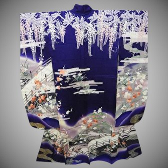 Deep Purple Silk Furisode Kimono in a Wisteria Garden Pattern with Gold and Silver Paint and Embroidery