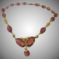 Vintage Amethyst Glass and Filigree Brass Necklace Unsigned Czech