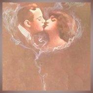 Kissing Couple in a Cloud of Smoke  Italian Postcard c1910