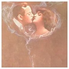 Kissing Couple in a Cloud of Smoke  Italian Postcard c1910
