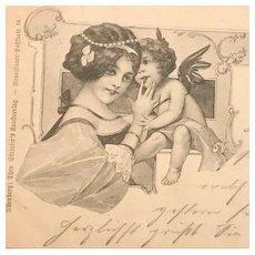 Mother and Child German Artist Art Nouveau Postcard c1900