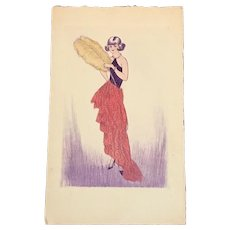 Hand Painted Art Deco Postcard on Hand Made paper c1920