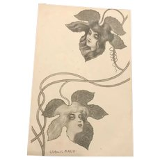 Ladies in Ivy Leaves Art Nouveau Signed German Postcard.