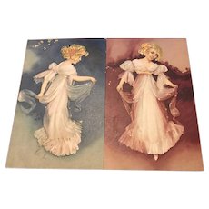 Pair Embossed Gilded Young Women Belgian Postcards 1918.
