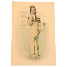 Vienne Maiden with Blossom #2 Postcard. c1900  Art Nouveau era.