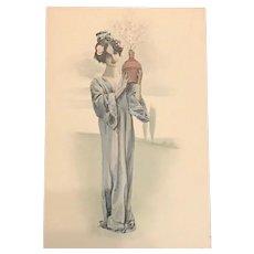 Vienne Maiden with Blossom #4 Postcard. Art Nouveau era c1900