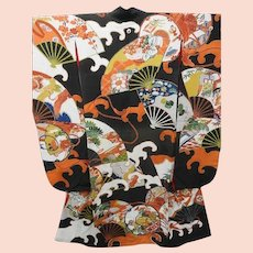 Antique Black Silk Japanese Bridal Furisode Kimono with Waves Fans Drums and Gold Embroidery