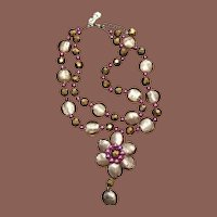 Vintage Art Glass Crystal and Freshwater Cultured Pearl Double Strand Necklace Signed