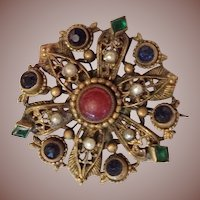 Antique Etruscan Revival Filigree Carnelian and Multi stone Brooch Pin