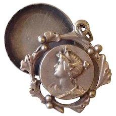 Antique French Grecian Revival Mirror Swing Locket Art Nouveau era