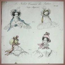 Hand Colored Fashion Illustration Engraving 'Le Follett' c1833.