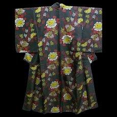 Black & Floral Silky Jinken Kimono c1900