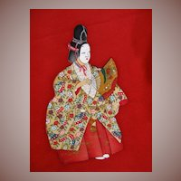 Silk Kimono Noh Theatre Performer Homongi with Gilded and Hand Painted Figures