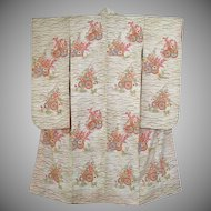 SALE: Vintage Wedding Kimono Pristine White Silk Floral Furisode c1960