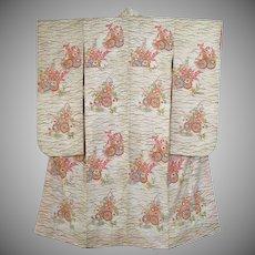 SALE: Vintage Wedding Kimono Pristine White Silk Floral Furisode c1960