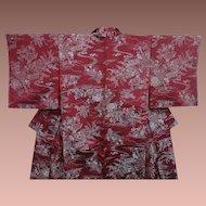SALE: Burgundy Silk Kimono with Silver Garden Pattern c1900.